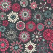 Floral seamless pattern with flowers. Vector blooming doodle flo — ストックベクタ