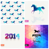 Set of four New Year symbols. Blue horse.Vector retro supply, hi — Stock Vector