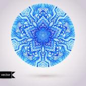 Vector doily watercolor vector gzhel pattern. Decorative white a — Stock Vector