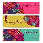 Vector stylish floral banners. Bright doodle cartoon cards in ve — Stok Vektör