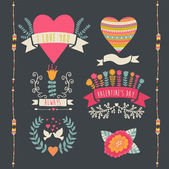 Valentine label set. Valentine Day emblems. — Stockvector