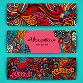 Vector stylish floral banners. Bright doodle cartoon cards in ve — Wektor stockowy