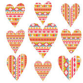 Vector tribal hearts set, aztec vintage folklore background pa — Stock Vector