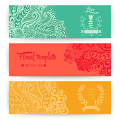 Vector stylish floral banners. Bright doodle cartoon cards in ve — 图库矢量图片