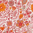 Seamless texture with flowers and birds. Endless floral pattern. — Stock Photo