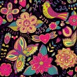 Stock Photo: Seamless texture with flowers and birds. Endless floral pattern.