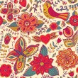 Seamless texture with flowers and birds. Endless floral pattern. — Stock Photo #39909365
