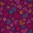 Romantic seamless pattern with hearts, and butterflies. — Stock Photo