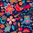 Stock Photo: Forest seamless pattern. Floral background.Owl, rabbit, butterf