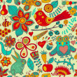 Forest seamless pattern. Floral background.Owl, rabbit, butterf — Stock Photo