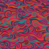 Raster seamless wave hand-drawn pattern, waves background (seaml — Stock Photo