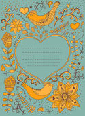 Vintage retro background with floral ornament and heart in the m — Stock Photo