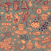 Tea,sweets seamless doodle pattern. Copy that square to the side — Stock Photo
