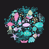 Illustration of circle made of sea life elements. Bright summer — Stock Photo