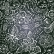 Chalkboard seamless floral pattern. Copy that square to the sid — Stock Photo #39910085