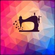 Old sewing machine on hipster background made of triangles with — Zdjęcie stockowe