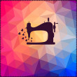 Old sewing machine on hipster background made of triangles with — Stok fotoğraf