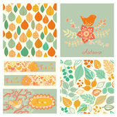 Autumn set, seamless pattern with leaf, autumn leaf background. — Stock Photo