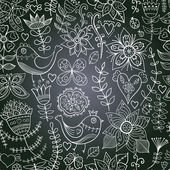 Chalkboard seamless floral pattern. Copy that square to the sid — Stock Photo