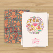 Greeting floral card. Tea Branding Design. Coffee and Tea design — Stok Vektör