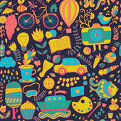 Vector seamless pattern, childish doodles. Pattern ,set of diffe — Vector de stock