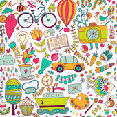 Vector seamless pattern, childish doodles. Pattern ,set of diffe — Stock Vector