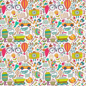 Vector seamless pattern, childish doodles. Pattern ,set of diffe — Stockvector