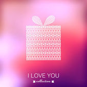 Gift box. Vector Valentine's Day background. Blurred template, h — Stock Vector