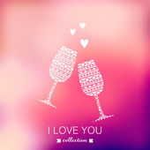 Vector champagne silhouette, Valentine's Day background. Blurred — Stock Vector