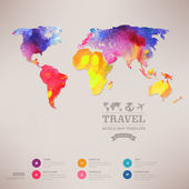 Vector watercolor map, web and mobile template. Corporate websit — Stockvektor