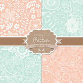 4 seamless vector patterns. Shabby chic. Floral patterns (seamle — Vetor de Stock