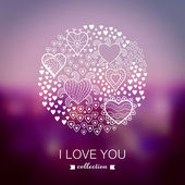 Vector Valentine's Day background, round, circle made of hearts. — Stock Vector