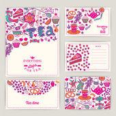 Tea Branding Design. Coffee and Tea design set cards. Sweet patt — Stock Vector
