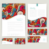 Set of wave abstract cards, invitations. Vector wave tileable pa — Stock Vector