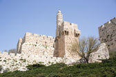 Tower of david and Jerusalem walls — Stock Photo