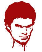 Bloody Serial Killer Portrait — Stock Vector