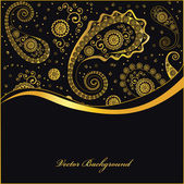 Golden paisley background — Stock Vector