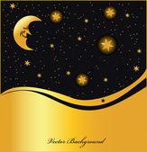 Night sky golden background, vector — Stock Vector