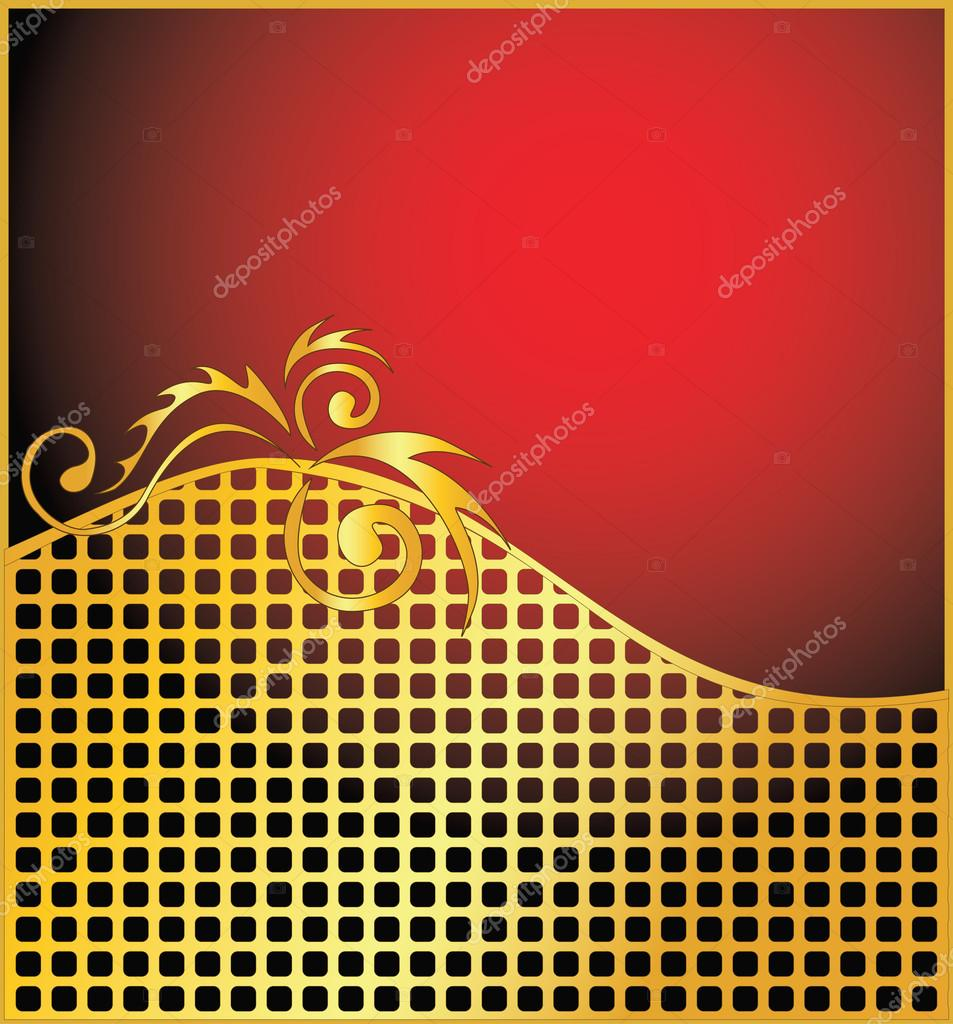 Elegant vector red and gold background - Stock IllustrationElegant Red And Gold Background