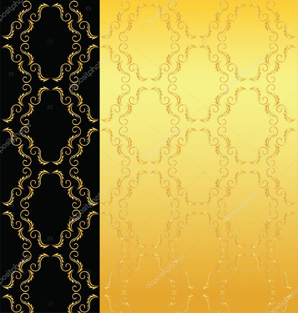 Elegant black and gold background from a floral ornament - Stock    Elegant Red And Gold Background