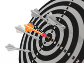 Arrows on the target — Stockfoto