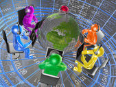 Globe and color mans — Stock Photo