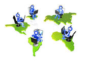 Blue mans with continents — Foto Stock