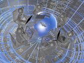 Round dance of grey mans — Stock Photo