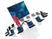 Röd gubbe med bärbara datorer och skärm — Stockfoto