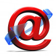 Three dimension sign of e-mail with arrow — Stock Photo