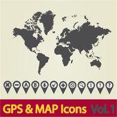 Dünya harita simgesi 1 — Stok Vektör