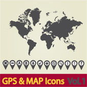 World map icon 1 — Stok Vektör