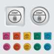 Start-stop button is protected by fingerprint. - Stock Vector
