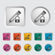 Stock Vector: Lock for editing single icon.